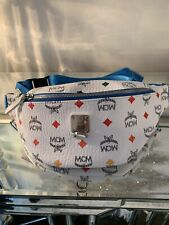 Auth MCM Logos Monogram Rare Leather Waist Fanny Pouch