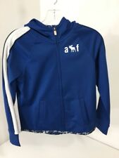 ABERCROMBIE & FITCH GIRLS ACTIVE SPORT ZIP UP HOODIE BLUE/WHITE 13/14 NWT $45