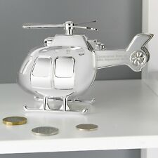 PERSONALISED Money Box Gift BOYS Silver Plated Helicopter Money Box Christmas
