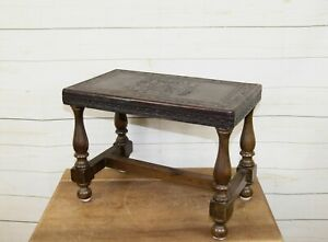 Traditional Style Rectangular Wooden Foot Stool Seat with Tooled Leather Top