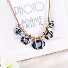 Blue Statement  Bib Necklace  Chain with Faux Crystals