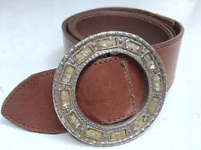 "Carole Little Jeweled Round Buckle Brown Leather 40"" One Size Fashion Belt"