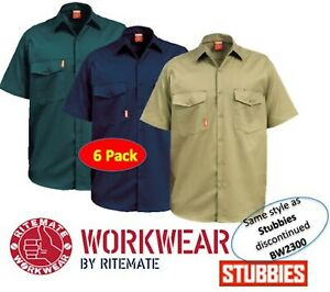 6 PACK - STUBBIES / RITEMATE MENS OPEN FRONT DRILL SHORT SLEEVE SHIRT - BW2300