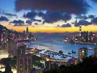 Photograph Cityscape Hong Kong Kowloon Sunset Evening Canvas Art Print