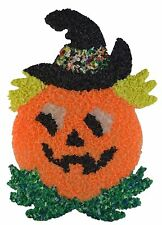 Vintage Melted Plastic Popcorn Halloween Jack-O-Lantern Pumpkin Decoration