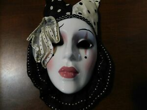 Vtg Original Clay Art  Glazed Black & Rose Color Art Clay Wall Mask Decorative