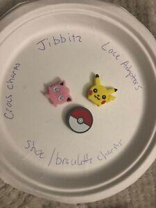 Pokémon Lot Of 3 Crocs, Bracelet, Lace Adapter Charms, Jibbitz