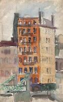 JULIUS ROSENBAUM Watercolour Painting IMPRESSIONIST BUILDINGS IN LANDSCAPE c1920