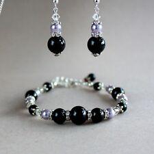 Vintage black lilac mauve purple pearls bracelet silver wedding bridesmaid set