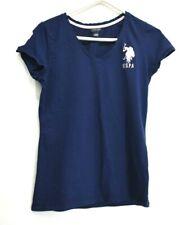 U.S. Polo Assn. Women's Large V-Neck Logo Short Sleeve T-Shirt Navy Blue