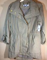 NEW YORK & COMPANY Spring/fall Jacket w/hood Coat SZ L Beige Cream Cargo Utility