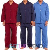 Mens Plain Cotton Pyjamas Mens Button Front Night Pjs Shirt & Trousers 2 Piece