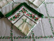 Holly and Berries cloth oval table cloth and napkins