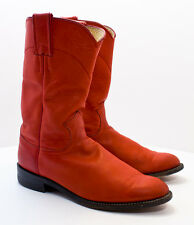 Justin Boots Size 5.5 B Women's Red Leather Round Toe Western Cowboy Boots L3625