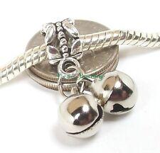Christmas Jingle Bell Dangle Large Hole Bead Slider for European Charm Bracelet