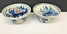 TWO CHINESE BLUE AND WHITE PORCELAIN FOOTED TRAYS, MARKED