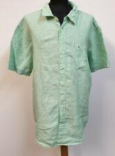 MENS TOMMY HILFIGER GREEN WHITE STRIPED LINEN S/SLEEVE SHIRT UK XL EU 54