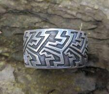 Silver Cuff Bracelet Wide Geometric Sterling