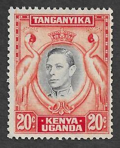 77 Kenya Uganda Tanganyika King George VI 20c black & orange p. 13 1/4 NG SG 139