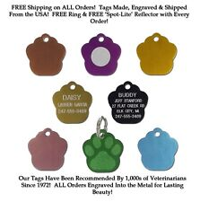 SMALL PAW SHAPE Dog Cat Pet ID Name Tags Custom Engraved Tag W/ Up To 5 Lines