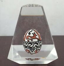 Vintage Clear Acrylic Paperweight / Display Painted Egg