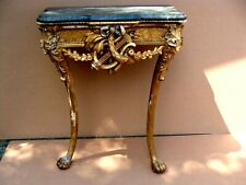 Antique 18C Irish Chippendale Gilt Wood Marble Top Console Table