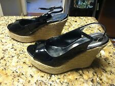 Express women's size 9 black beige platform wedge shoes straps open toe used GUC