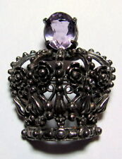 Vintage Royal Silver-tone Crown with Lilac Light Purple Faceted Glass Pin Brooch