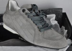NIB $375 Emporio ARMANI Gray Suede Sneakers 6 M NEW