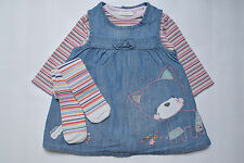 NEXT Set Gr. 74 80 86 Kleid Hängerchen Tunika Jeanskleid Katze Body Strumpfhose