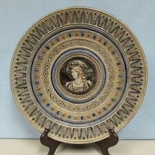 Antique German stoneware charger woman Gerz 19th 12 inches