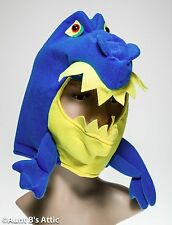 Dragon Head Mask Wearable Scareable Blue Soft Pull Over Costume Headpiece OS