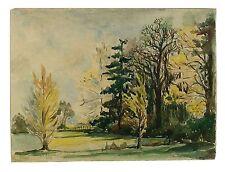Autumn Trees Signed Unframed Retro Landscape Watercolour Painting M Harrison