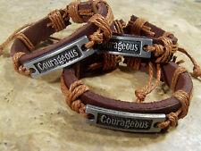 One Lot Of Three Handmade Hemp/Genuine Leather/Alloy Courageous Bracelets