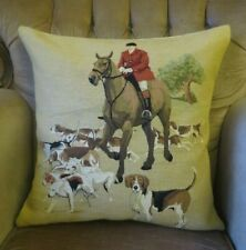 ENGLISH FOX HUNTING HORSE RIDING EQUESTRIAN TAPESTRY PILLOW CUSHION COVER ONLY