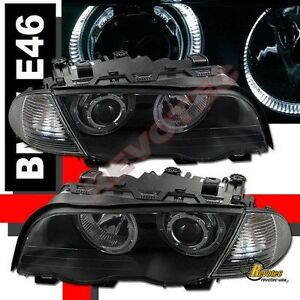 99 00 01 BMW E46 325i 328i 330i 4DR Sedan Halo Projector Headlights & Corner Blk