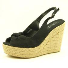 Open Toe Espadrille Slingback Shoes, Women's Sandals, Black 7.5US