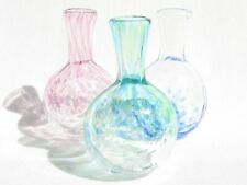 Set of 3 Handmade Small Glass Vases (Made in Japan)