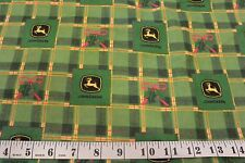 "John Deere Green Plaid Logo & Hollies Cotton FLANNEL Fabric 2.08 Yd L x 44"" W"