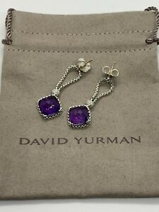David Yurman Sterling Silver Amethyst Cushion on Point Diamond Earrings