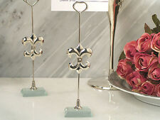 100 Silver Fleur De Lis Photo Place Card Holder Bridal Wedding Favor