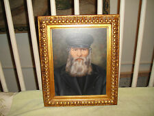 Superb Painting On Board Of Jewish Religious Man-Framed-Bearded Man Painting