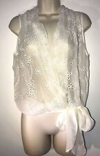 Stills 100% Silk Top Embroidered Sheer Sleeveless Wrap Size 12 (EU40)