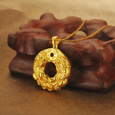 Pure 24k Yellow Gold 3D Craved Money Coin Two Dragon Son Circle Pendant J.Lee