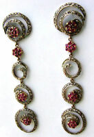 Victorian 4.12ct Rose Cut Diamond Ruby Dangling Earrings Vintage Jewelry VTJ EHS