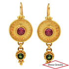 Estate Sapphire Tourmaline 22K Gold Dangle Earrings 8.1 Grams NR