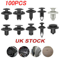100X Black Plastic Push Rivet Trim Panel Fastener Clips 8mm Dia Hole for Car New