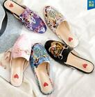 Ladies Floral Embroidery Slipper Sandals Shoes Leather Flats Flip-flops Top SZ
