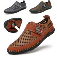 Mens Casual Mesh Shoes Slip on Loafers Leather Shoes Driving Summer   D L