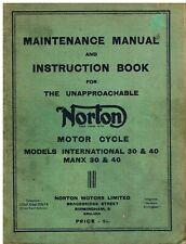 NORTON INTERNATIONAL 30 40 & MANX 30 40 FACTORY MAINTENANCE & INSTRUCTION MANUAL